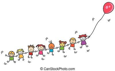 воздушный шар, kids, playing