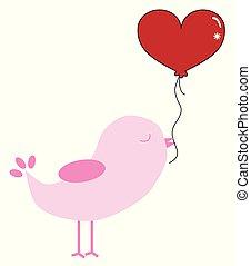 воздушный шар, valentines, птица