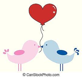 воздушный шар, valentines, birds