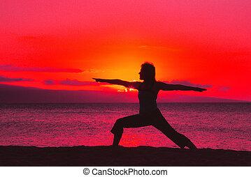 воин, поза, йога, закат солнца
