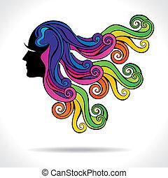 волосы, абстрактные, мода, девушка, красочный