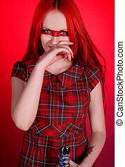 волосы, девушка, красный, меч