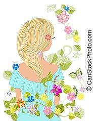 волосы, дизайн, блондин, изящный, девушка, цветы, ваш
