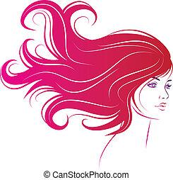 волосы, женщина, черный, длинный, лицо