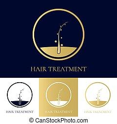 волосы, логотип, дизайн, лечение