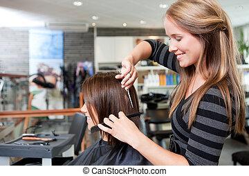 волосы, резка, client's, парикмахер