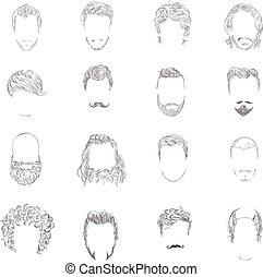 волосы, стиль, задавать, человек