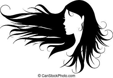 волосы, черный