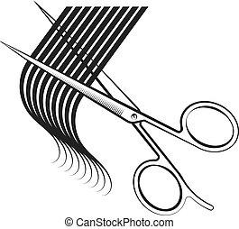волосы, scissors, локон, порез