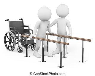 восстановление, человек, people., травма, his, 3d, белый