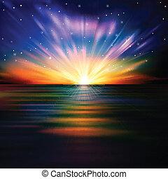 восход, абстрактные, море, число звезд:, задний план