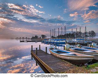 восход, гавань, развлекательный, озеро