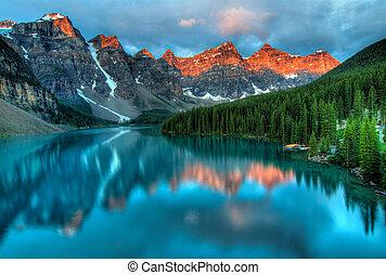 восход, морена, пейзаж, красочный, озеро