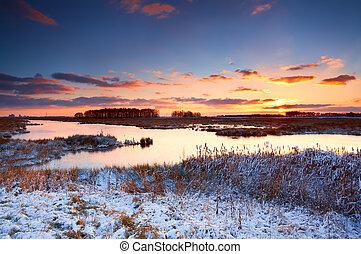 восход, над, река, зима, красочный