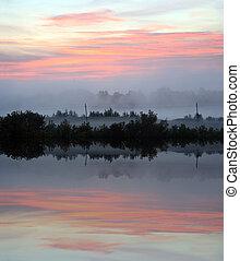 восход, над, туман, озеро, пейзаж