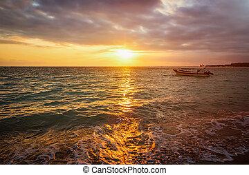 восход, спокойный, лодка, океан