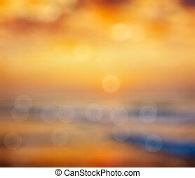 восход, defocused, задний план, океан