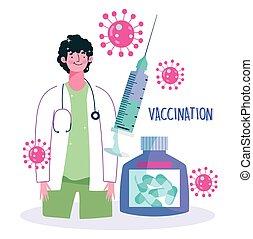 врач, бутылка, здоровье, специалист, шприц, забота, медицинская, вакцинация, лекарственное средство