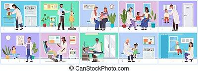 врач, services., около, медицинская, за работой, больница, illustrations, обеспечение, задавать, patients