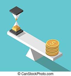 время, изометрический, баланс, деньги