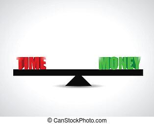 время, против, баланс, деньги