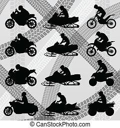 все, детская коляска, местность, дюна, motorbikes, четырехъядерный, средство передвижения, illust, riders