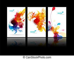 всплеск, абстрактные, задавать, красочный, illustrations.