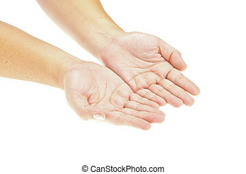 вставить, рука, product., образ, isolated, object., держа, руки, открытый, ваш