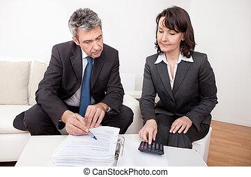 встреча, два, бизнес, люди