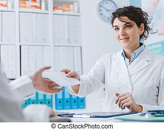 встреча, пациент, офис, врач