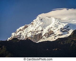 вулкан, antisana, снег, эквадор, ограничен