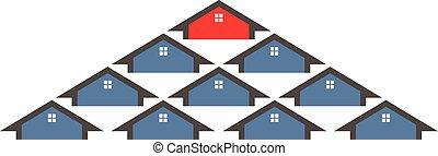 выбор, дом, графический, иллюстрация, вектор, group., дизайн