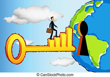 выгодный, мир, бизнес, entering, человек