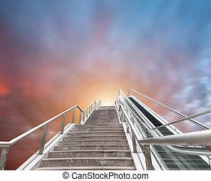 выражение, эскалатор, небо, абстрактные, фантазия, пейзаж, городской