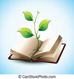 выращивание, растение, книга, открытый