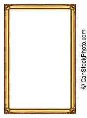 вырезка, золотой, задний план, дорожка, isolated, рамка, белый