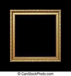 вырезка, золото, рамка, isolated, черный, задний план, дорожка