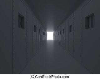 высокая, старый, illustration., образ, клетка, lattices., тюрьма, prison., разрешающая способность, 3d