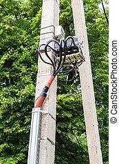 высокая, трансформатор, станция, столб, мощность