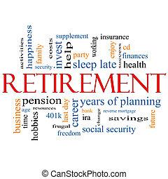 выход на пенсию, концепция, слово, облако