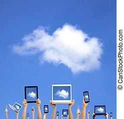 вычисления, облако, держа, руки, умная, таблетка, трогать, concept., телефон, компьютер, портативный компьютер, подушечка