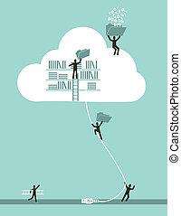 вычисления, облако, концепция, бизнес