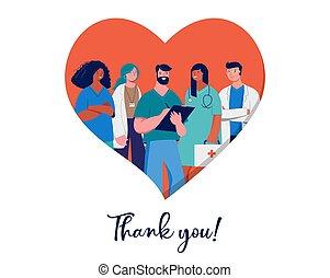 вы, doctors, медицинская, -, nurses, professionals, задний план, группа, красный, дизайн, сердце, спасибо, концепция