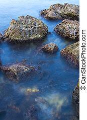в течение, воздействие, sunset., море, длинный, stones