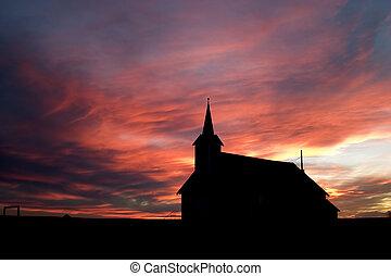 в течение, закат солнца, церковь