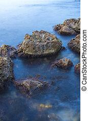 в течение, огромный, воздействие, sunset., море, длинный, stones