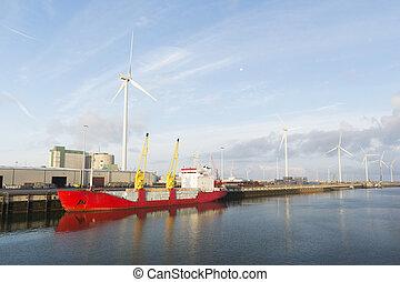 гавань, грузовой, красный, лодка