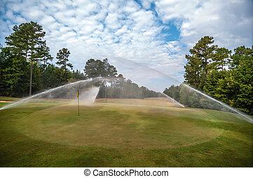 газон, гольф, полив, курс, зеленый, трава