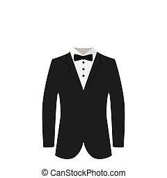 галстук, черный, костюм