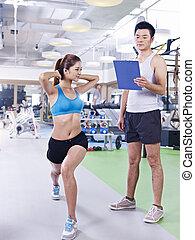 гимнастический зал, женщина, молодой, exercising